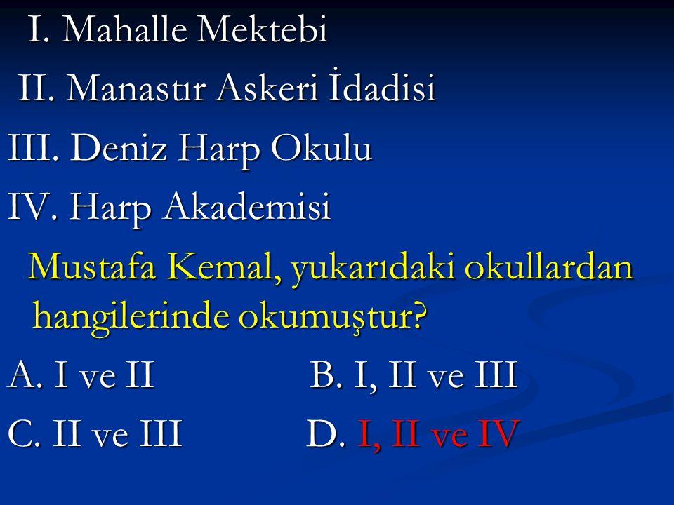 I.Mahalle Mektebi I. Mahalle Mektebi II. Manastır Askeri İdadisi II.
