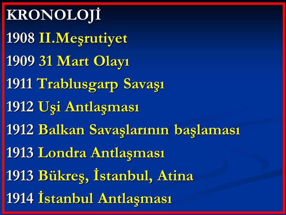 KRONOLOJİ 1908 II.Meşrutiyet 1909 31 Mart Olayı 1911 Trablusgarp Savaşı 1912 Uşi Antlaşması 1912 Balkan Savaşlarının başlaması 1913 Londra Antlaşması 1913 Bükreş, İstanbul, Atina 1914 İstanbul Antlaşması