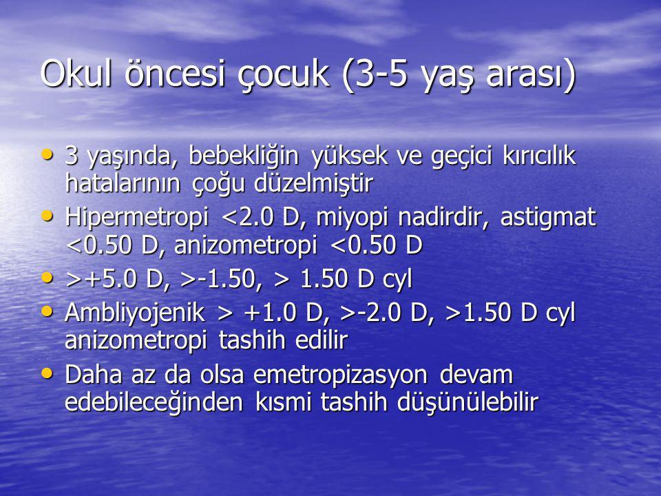 Okul öncesi çocuk (3-5 yaş arası) • 3 yaşında, bebekliğin yüksek ve geçici kırıcılık hatalarının çoğu düzelmiştir • Hipermetropi <2.0 D, miyopi nadirdir, astigmat <0.50 D, anizometropi <0.50 D • >+5.0 D, >-1.50, > 1.50 D cyl • Ambliyojenik > +1.0 D, >-2.0 D, >1.50 D cyl anizometropi tashih edilir • Daha az da olsa emetropizasyon devam edebileceğinden kısmi tashih düşünülebilir