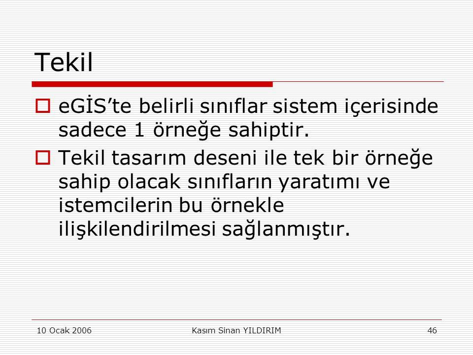 10 Ocak 2006Kasım Sinan YILDIRIM46 Tekil  eGİS'te belirli sınıflar sistem içerisinde sadece 1 örneğe sahiptir.  Tekil tasarım deseni ile tek bir örn