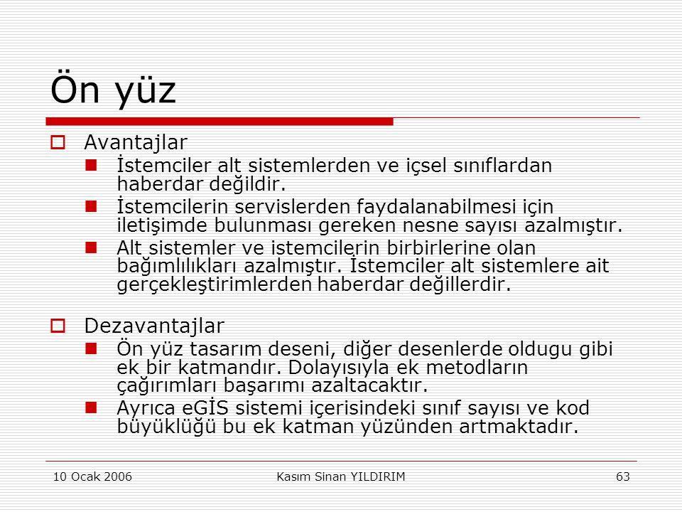 10 Ocak 2006Kasım Sinan YILDIRIM63 Ön yüz  Avantajlar  İstemciler alt sistemlerden ve içsel sınıflardan haberdar değildir.  İstemcilerin servislerd