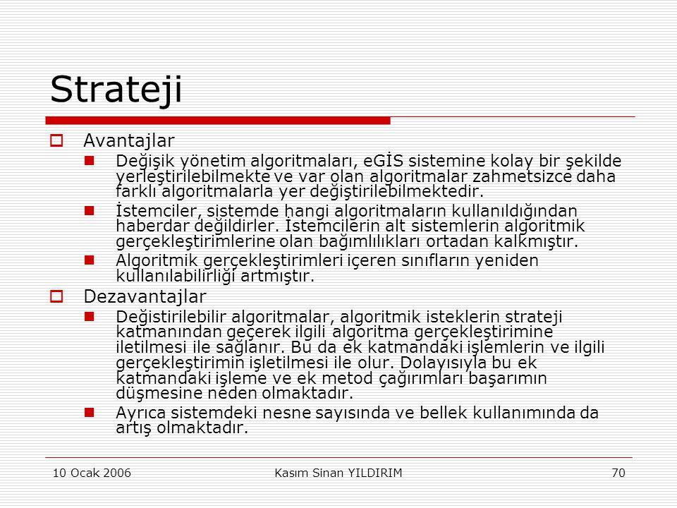 10 Ocak 2006Kasım Sinan YILDIRIM70 Strateji  Avantajlar  Değişik yönetim algoritmaları, eGİS sistemine kolay bir şekilde yerleştirilebilmekte ve var