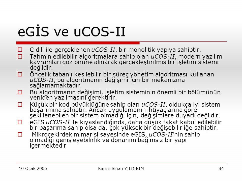 10 Ocak 2006Kasım Sinan YILDIRIM84 eGİS ve uCOS-II  C dili ile gerçeklenen uCOS-II, bir monolitik yapıya sahiptir.  Tahmin edilebilir algoritmalara