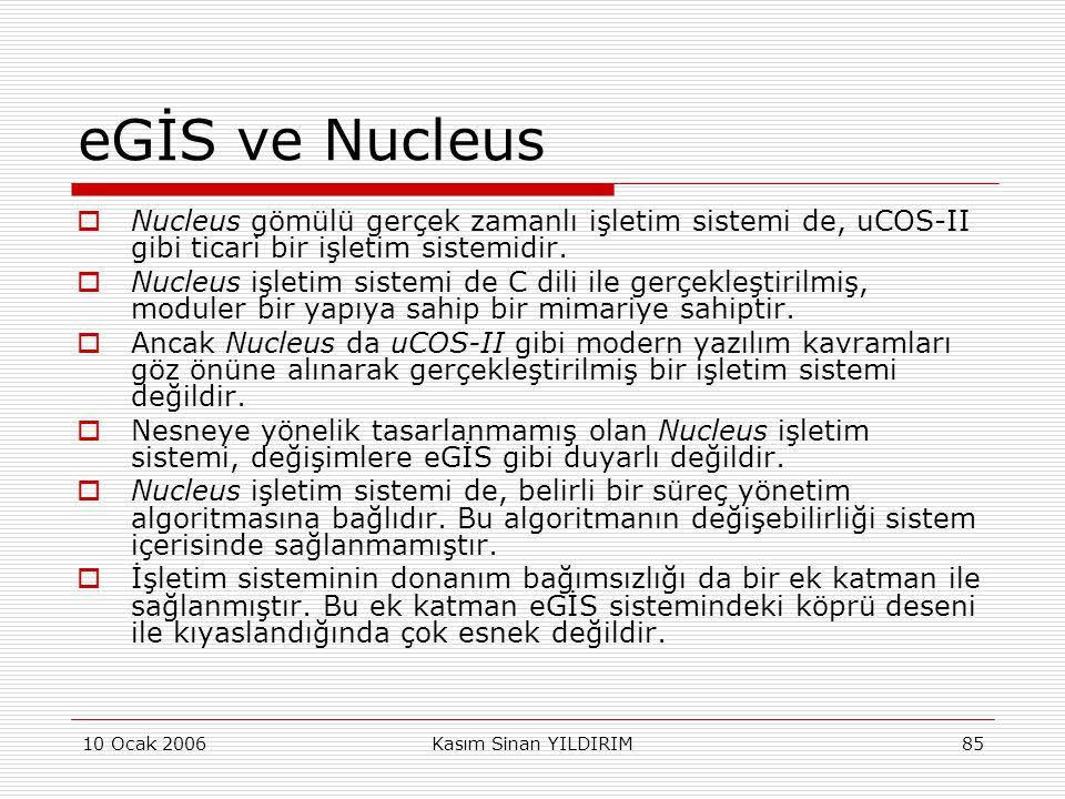 10 Ocak 2006Kasım Sinan YILDIRIM85 eGİS ve Nucleus  Nucleus gömülü gerçek zamanlı işletim sistemi de, uCOS-II gibi ticari bir işletim sistemidir.  N