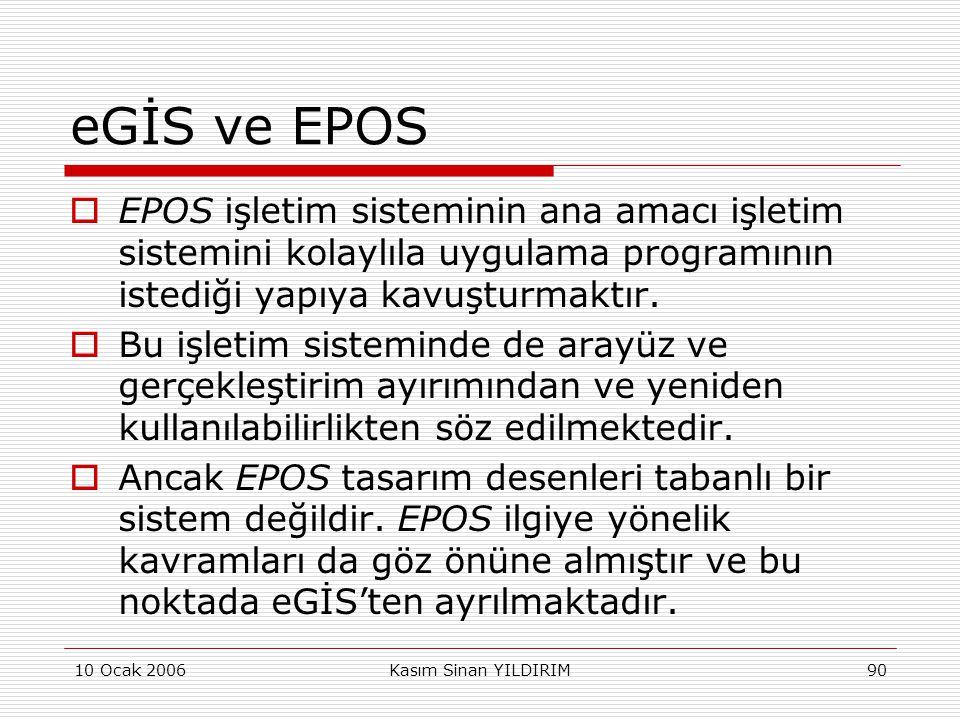 10 Ocak 2006Kasım Sinan YILDIRIM90 eGİS ve EPOS  EPOS işletim sisteminin ana amacı işletim sistemini kolaylıla uygulama programının istediği yapıya k