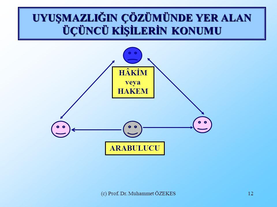 (c) Prof. Dr. Muhammet ÖZEKES12 UYUŞMAZLIĞIN ÇÖZÜMÜNDE YER ALAN ÜÇÜNCÜ KİŞİLERİN KONUMU HÂKİM veya HAKEM ARABULUCU