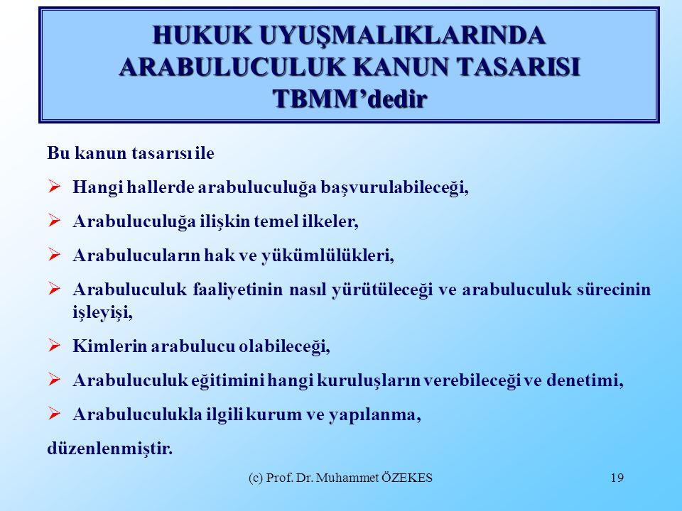 (c) Prof. Dr. Muhammet ÖZEKES19 HUKUK UYUŞMALIKLARINDA ARABULUCULUK KANUN TASARISI TBMM'dedir Bu kanun tasarısı ile  Hangi hallerde arabuluculuğa baş