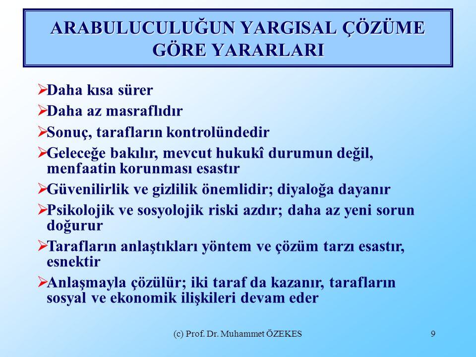 (c) Prof. Dr. Muhammet ÖZEKES9 ARABULUCULUĞUN YARGISAL ÇÖZÜME GÖRE YARARLARI  Daha kısa sürer  Daha az masraflıdır  Sonuç, tarafların kontrolündedi