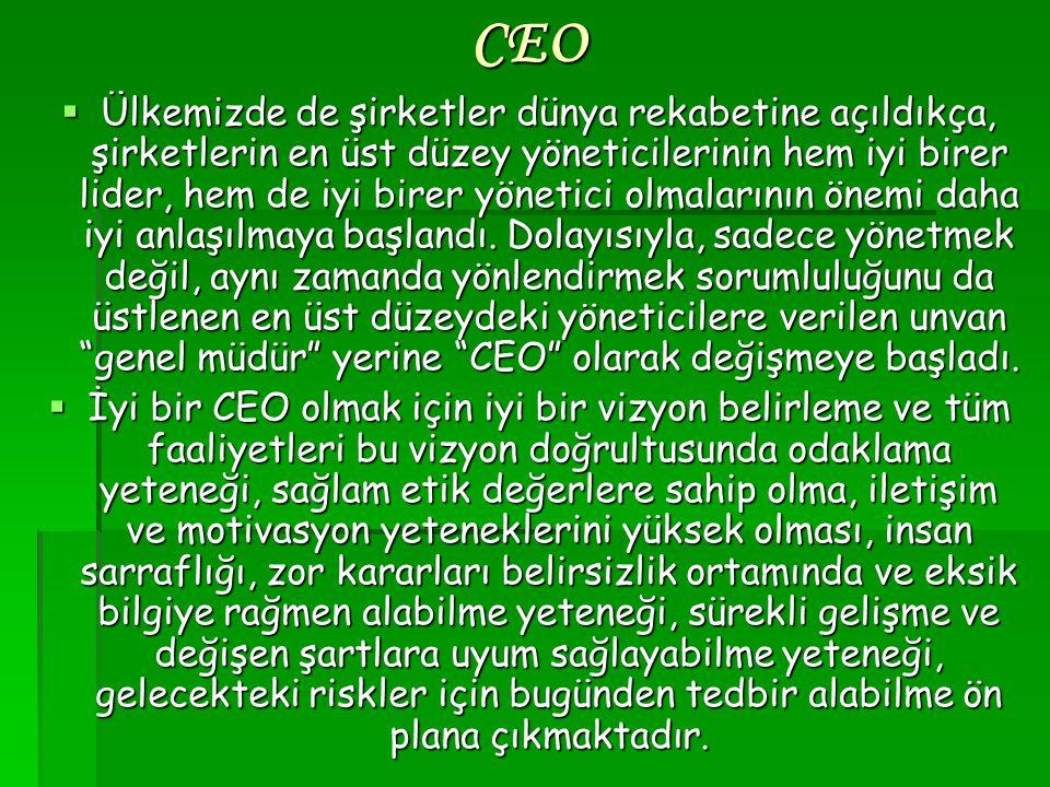 CEO  Ülkemizde de şirketler dünya rekabetine açıldıkça, şirketlerin en üst düzey yöneticilerinin hem iyi birer lider, hem de iyi birer yönetici olmal