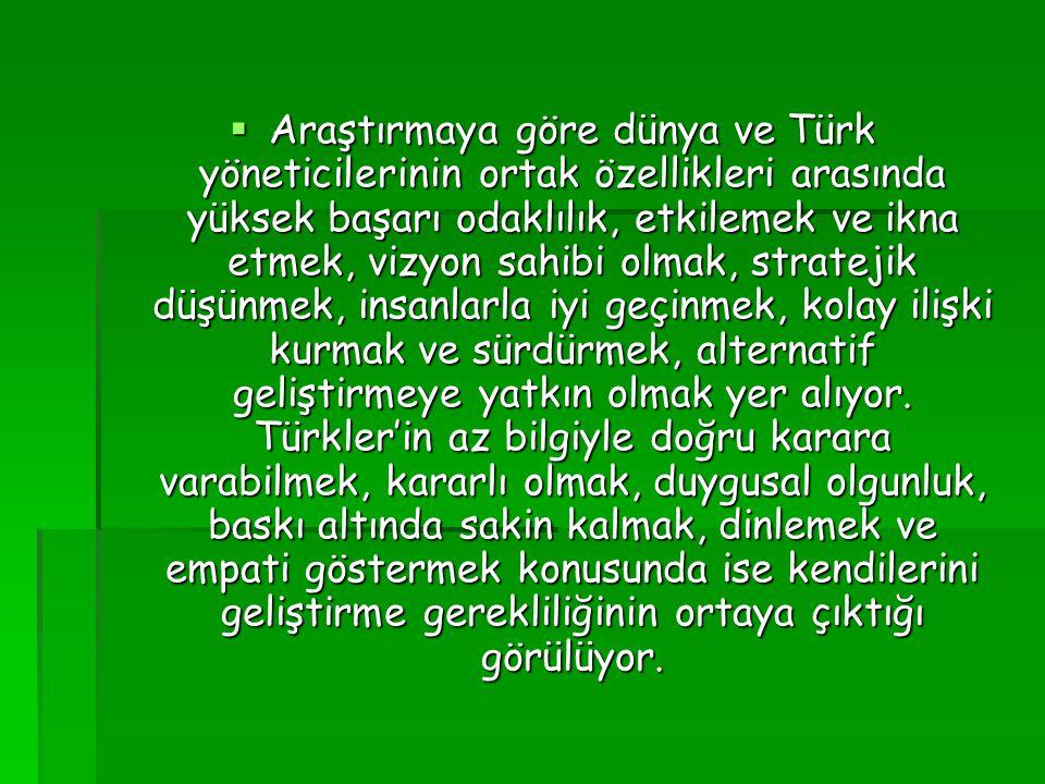  Araştırmaya göre dünya ve Türk yöneticilerinin ortak özellikleri arasında yüksek başarı odaklılık, etkilemek ve ikna etmek, vizyon sahibi olmak, str