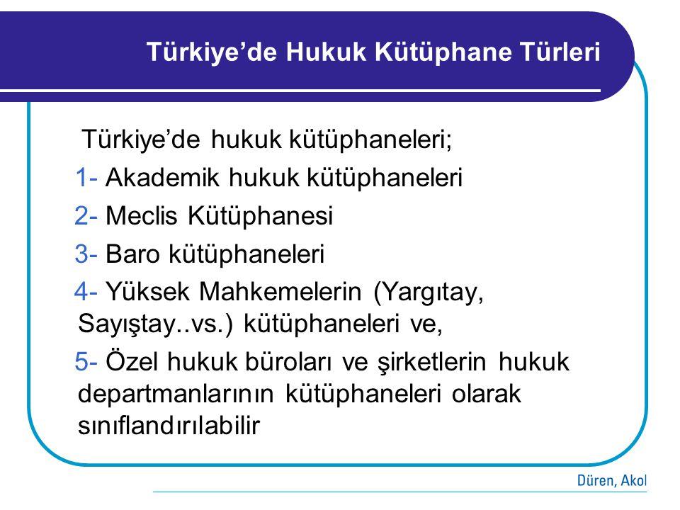 Türkiye'de Hukuk Kütüphane Türleri Türkiye'de hukuk kütüphaneleri; 1- Akademik hukuk kütüphaneleri 2- Meclis Kütüphanesi 3- Baro kütüphaneleri 4- Yüks