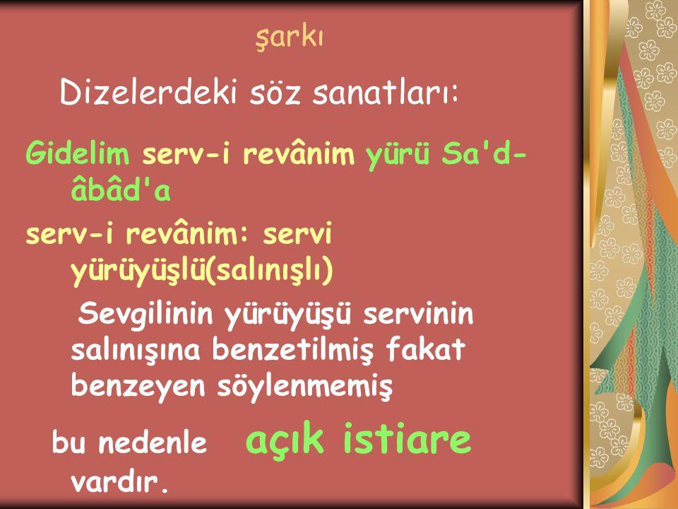 şarkı Gidelim serv-i revânim yürü Sa'd- âbâd'a serv-i revânim: servi yürüyüşlü(salınışlı) Sevgilinin yürüyüşü servinin salınışına benzetilmiş fakat be