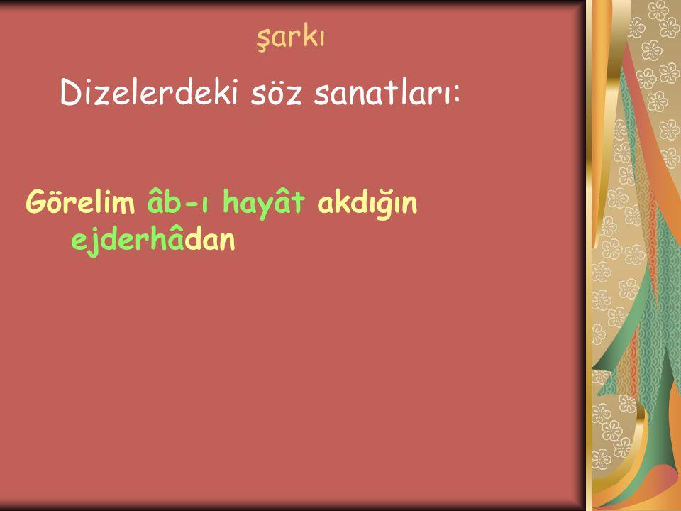 şarkı Görelim âb-ı hayât akdığın ejderhâdan Dizelerdeki söz sanatları: