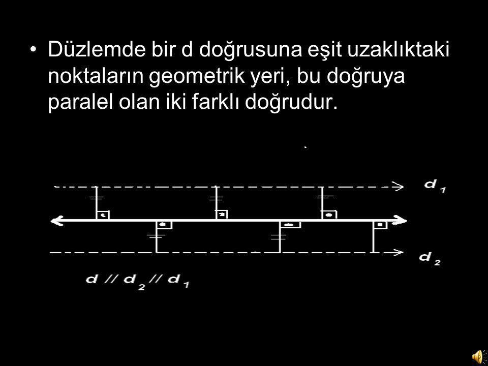 •Düzlemde bir d doğrusuna eşit uzaklıktaki noktaların geometrik yeri, bu doğruya paralel olan iki farklı doğrudur.