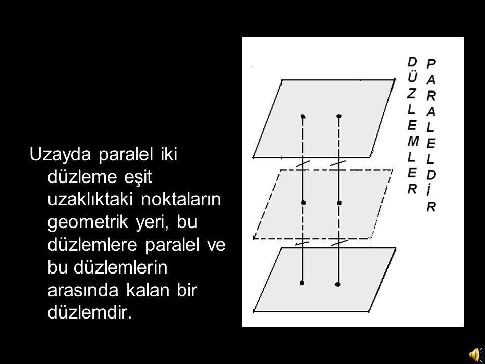 Uzayda paralel iki düzleme eşit uzaklıktaki noktaların geometrik yeri, bu düzlemlere paralel ve bu düzlemlerin arasında kalan bir düzlemdir.