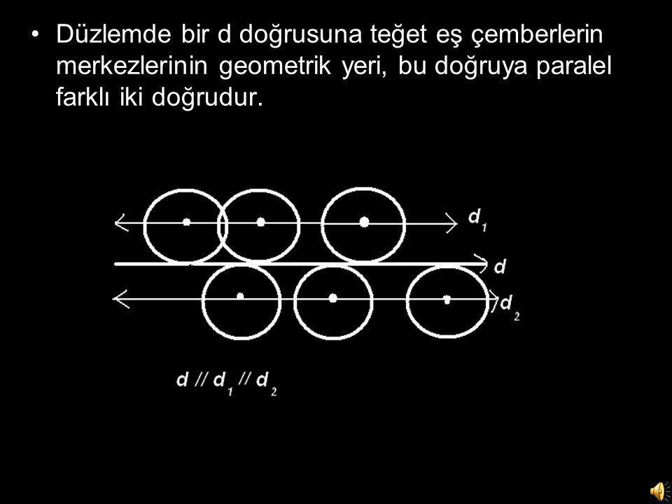 •Düzlemde bir d doğrusuna teğet eş çemberlerin merkezlerinin geometrik yeri, bu doğruya paralel farklı iki doğrudur.