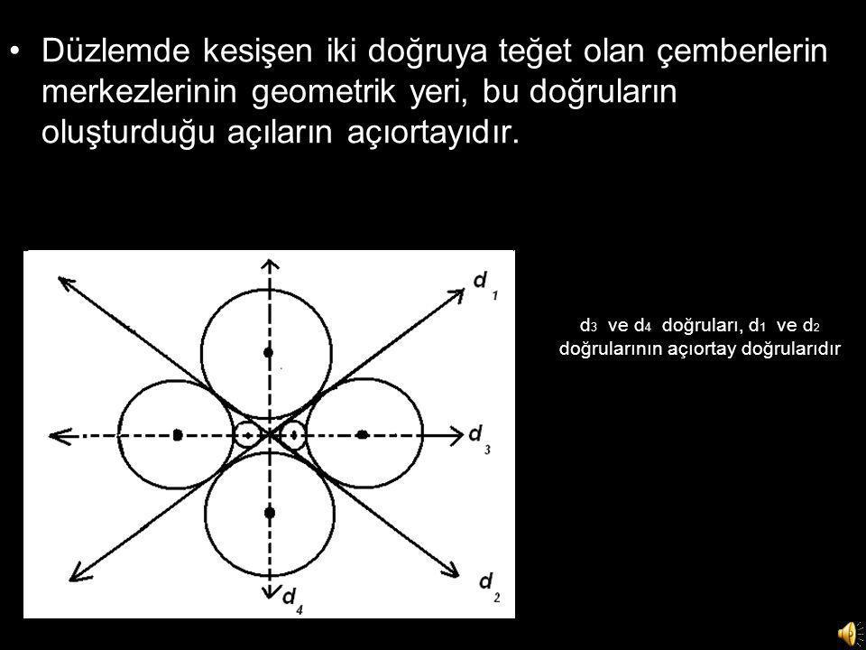d 3 ve d 4 doğruları, d 1 ve d 2 doğrularının açıortay doğrularıdır •Düzlemde kesişen iki doğruya teğet olan çemberlerin merkezlerinin geometrik yeri, bu doğruların oluşturduğu açıların açıortayıdır.