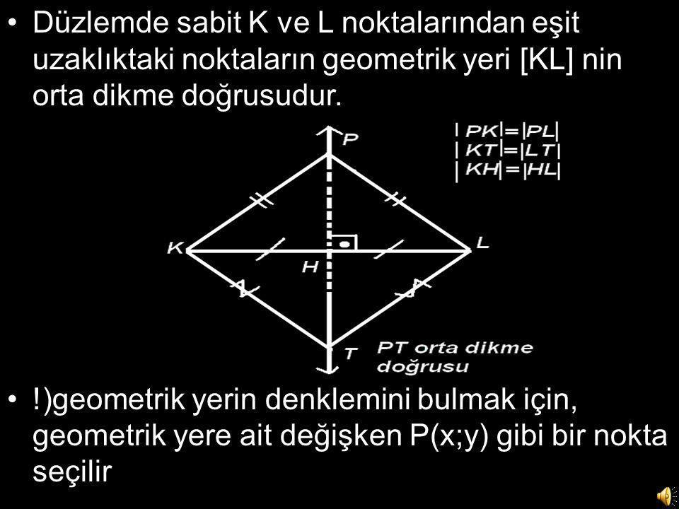 •Düzlemde sabit K ve L noktalarından eşit uzaklıktaki noktaların geometrik yeri [KL] nin orta dikme doğrusudur. •!)geometrik yerin denklemini bulmak i