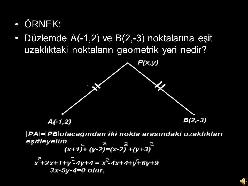 •ÖRNEK: •Düzlemde A(-1,2) ve B(2,-3) noktalarına eşit uzaklıktaki noktaların geometrik yeri nedir?
