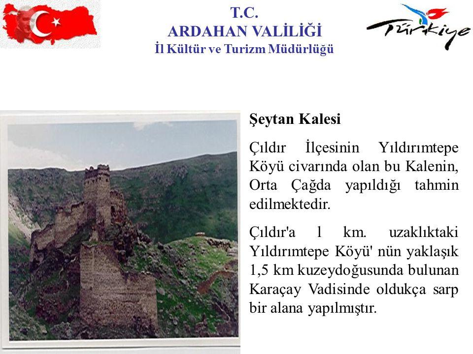 T.C. ARDAHAN VALİLİĞİ İl Kültür ve Turizm Müdürlüğü Şeytan Kalesi Çıldır İlçesinin Yıldırımtepe Köyü civarında olan bu Kalenin, Orta Çağda yapıldığı t