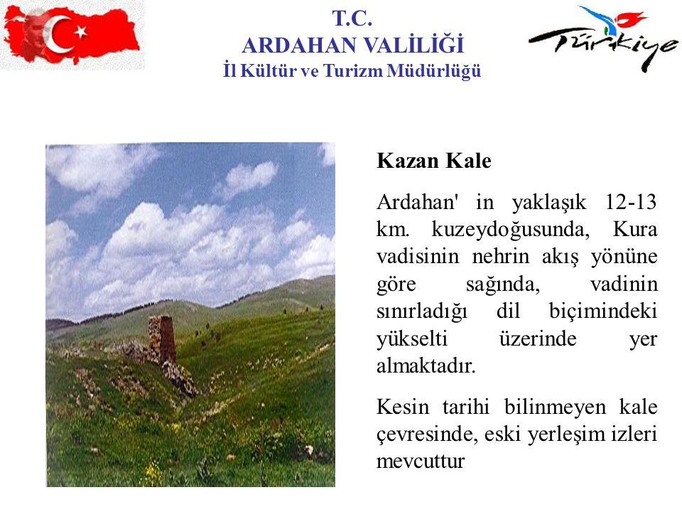 T.C. ARDAHAN VALİLİĞİ İl Kültür ve Turizm Müdürlüğü Kazan Kale Ardahan' in yaklaşık 12-13 km. kuzeydoğusunda, Kura vadisinin nehrin akış yönüne göre s