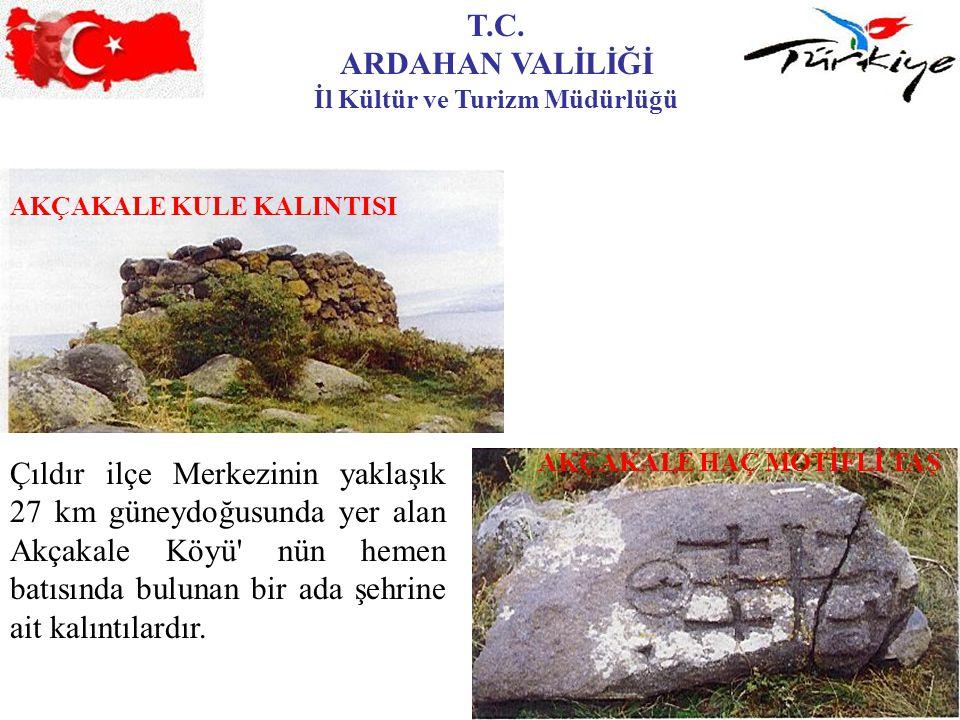 T.C. ARDAHAN VALİLİĞİ İl Kültür ve Turizm Müdürlüğü AKÇAKALE KULE KALINTISI AKÇAKALE HAÇ MOTİFLİ TAŞ Çıldır ilçe Merkezinin yaklaşık 27 km güneydoğusu
