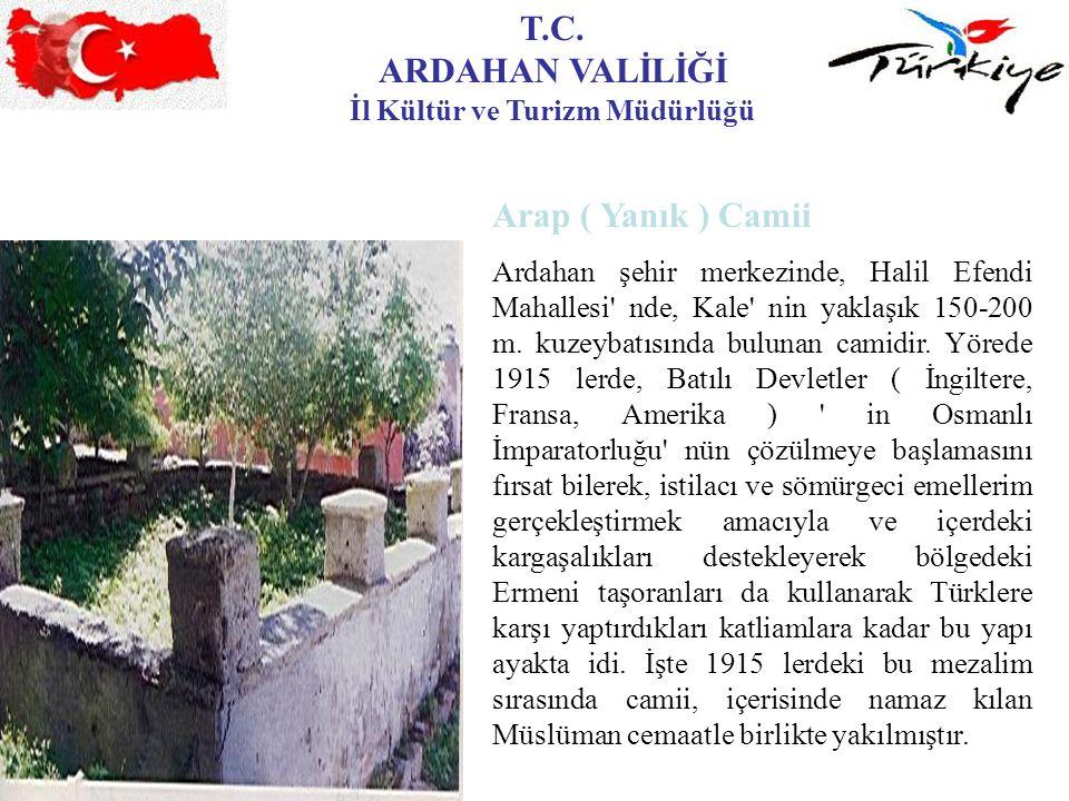 T.C. ARDAHAN VALİLİĞİ İl Kültür ve Turizm Müdürlüğü Arap ( Yanık ) Camii Ardahan şehir merkezinde, Halil Efendi Mahallesi' nde, Kale' nin yaklaşık 150
