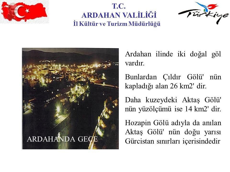 T.C. ARDAHAN VALİLİĞİ İl Kültür ve Turizm Müdürlüğü ARDAHANDA GECE Ardahan ilinde iki doğal göl vardır. Bunlardan Çıldır Gölü' nün kapladığı alan 26 k