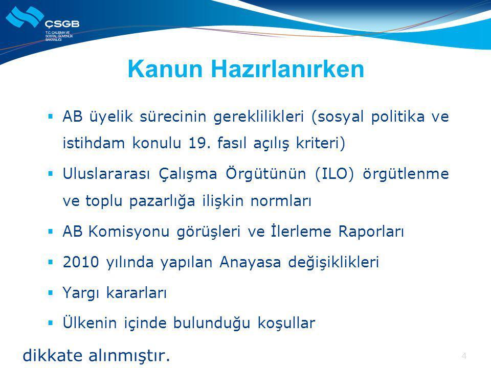 Kanun Hazırlanırken  AB üyelik sürecinin gereklilikleri (sosyal politika ve istihdam konulu 19.