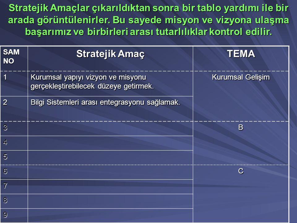 SAM NO Stratejik Amaç TEMA 1 Kurumsal yapıyı vizyon ve misyonu gerçekleştirebilecek düzeye getirmek. Kurumsal Gelişim 2 Bilgi Sistemleri arası entegra