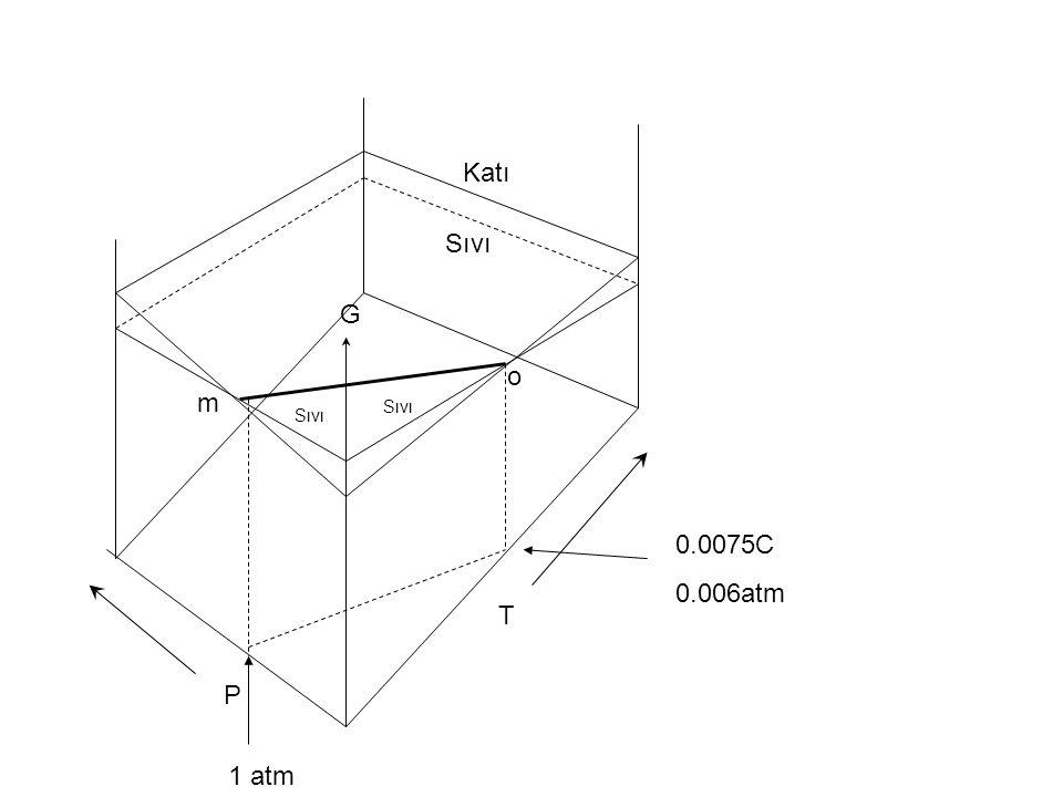 Katı Sıvı o m T P 1 atm 0.0075C 0.006atm G