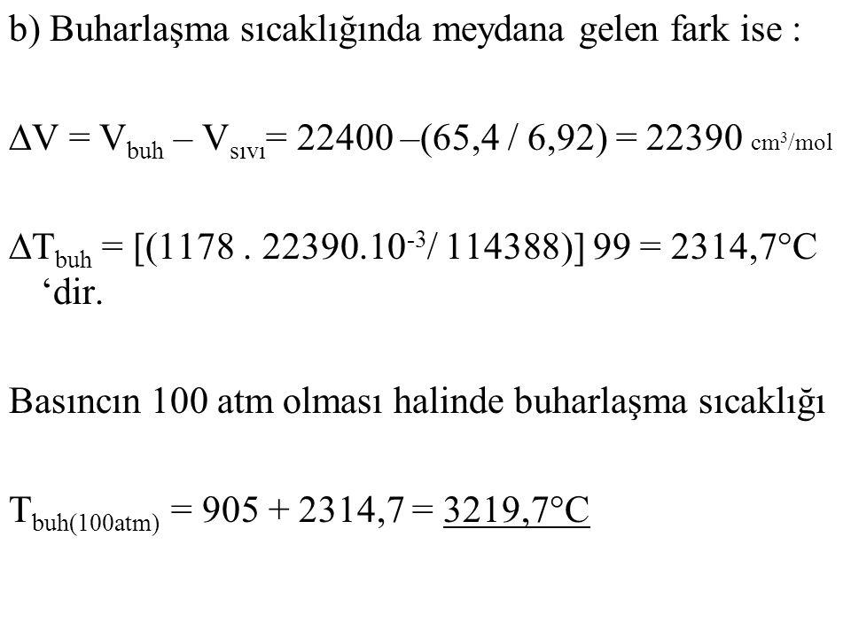 b) Buharlaşma sıcaklığında meydana gelen fark ise : ∆V = V buh – V sıvı = 22400 –(65,4 / 6,92) = 22390 cm 3 /mol ∆T buh = [(1178. 22390.10 -3 / 114388