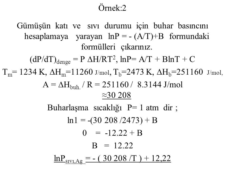 Örnek:2 Gümüşün katı ve sıvı durumu için buhar basıncını hesaplamaya yarayan lnP = - (A/T)+B formundaki formülleri çıkarınız. (dP/dT) denge = P ∆H/RT