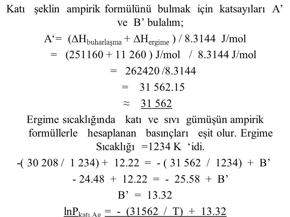 Katı şeklin ampirik formülünü bulmak için katsayıları A' ve B' bulalım; A'= (∆H buharlaşma + ∆H ergime ) / 8.3144 J/mol = (251160 + 11 260 ) J/mol / 8