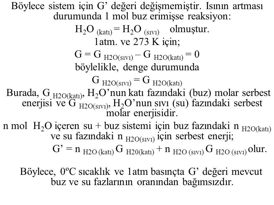Böylece sistem için G' değeri değişmemiştir. Isının artması durumunda 1 mol buz erimişse reaksiyon: H 2 O (katı) = H 2 O (sıvı) olmuştur. 1atm. ve 273