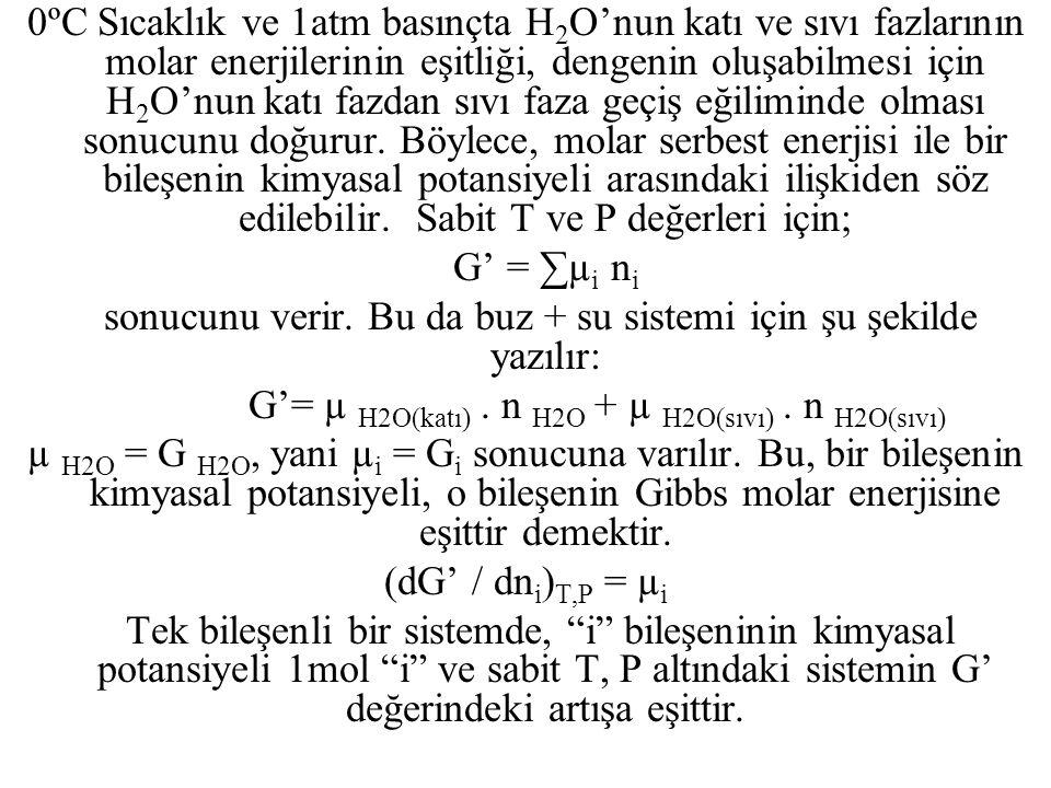 Sonuç olarak şu önerme yapılabilir: G i = µ i Eğer su + buz sistemi 1atm basınç ve 0ºC'nin üstünde bir sıcaklıkta ise sistem dengede değildir ve buz erir.