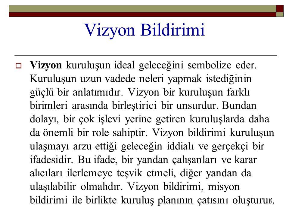 5 Vizyon Bildirimi  Vizyon kuruluşun ideal geleceğini sembolize eder.