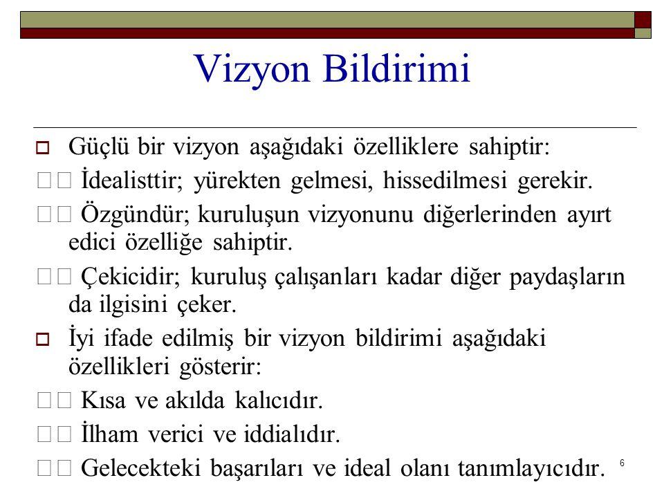 6 Vizyon Bildirimi  Güçlü bir vizyon aşağıdaki özelliklere sahiptir: İdealisttir; yürekten gelmesi, hissedilmesi gerekir. Özgündür; kuruluşun vizyonu