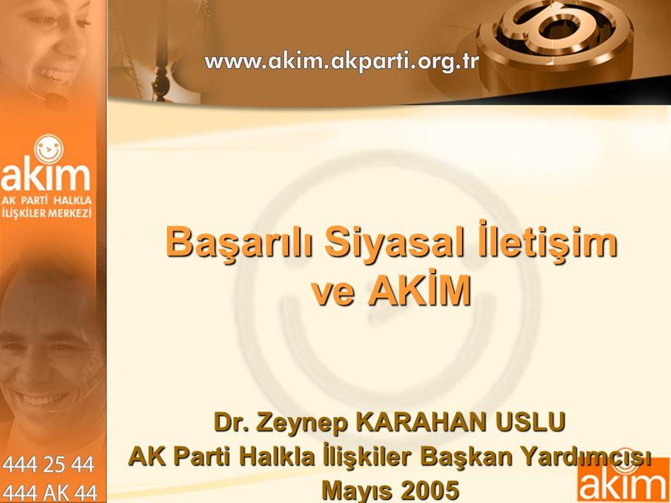 Başarılı Siyasal İletişim ve AKİM Dr. Zeynep KARAHAN USLU AK Parti Halkla İlişkiler Başkan Yardımcısı Mayıs 2005