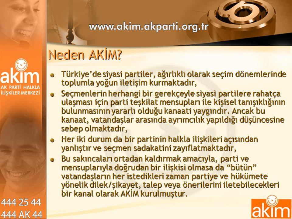 Neden AKİM? Türkiye'de siyasi partiler, ağırlıklı olarak seçim dönemlerinde toplumla yoğun iletişim kurmaktadır, Seçmenlerin herhangi bir gerekçeyle s