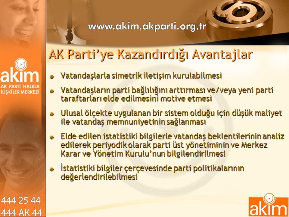 AK Parti'ye Kazandırdığı Avantajlar Vatandaşlarla simetrik iletişim kurulabilmesi Vatandaşların parti bağlılığını arttırması ve/veya yeni parti taraft