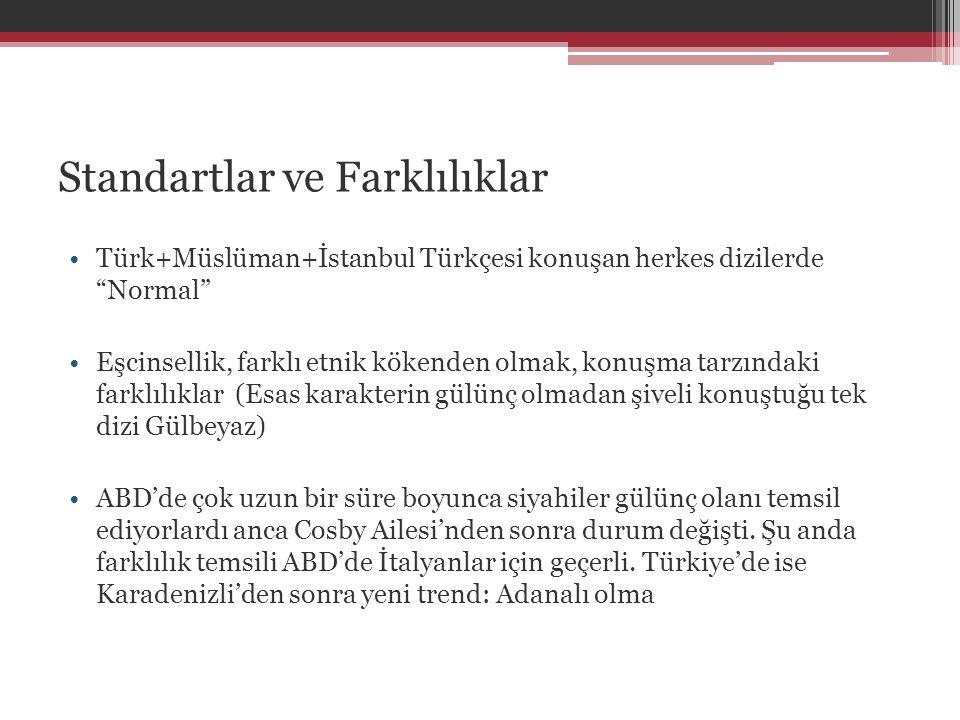 """Standartlar ve Farklılıklar •Türk+Müslüman+İstanbul Türkçesi konuşan herkes dizilerde """"Normal"""" •Eşcinsellik, farklı etnik kökenden olmak, konuşma tarz"""