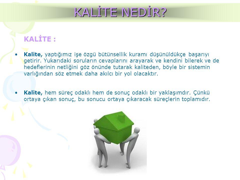 KALİTE : •Kalite, yaptığımız işe özgü bütünsellik kuramı düşünüldükçe başarıyı getirir. Yukarıdaki soruların cevaplarını arayarak ve kendini bilerek v