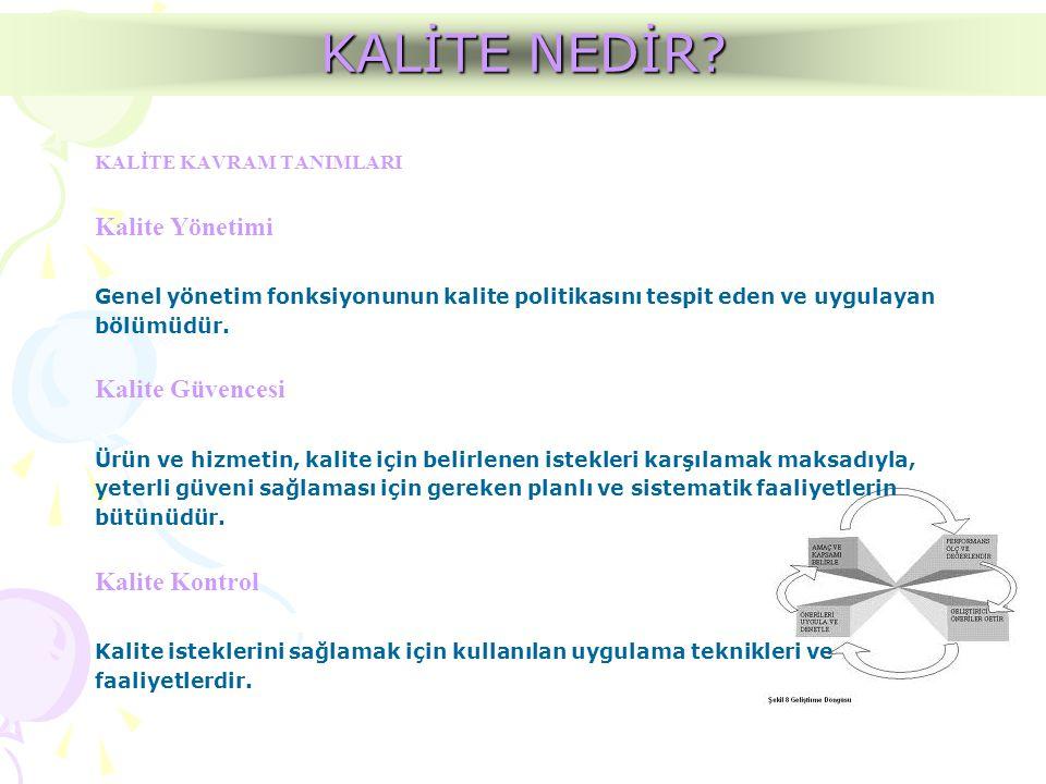 KALİTE KAVRAM TANIMLARI Kalite Yönetimi Genel yönetim fonksiyonunun kalite politikasını tespit eden ve uygulayan bölümüdür. Kalite Güvencesi Ürün ve h