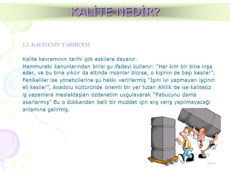 KALİTE KAVRAM TANIMLARI Kalite Sistemi Kalite yönetiminin uygulaması için gerekli olan kuruluş yapısı, sorumluluklar, prosedürler, prosesler ve kaynaklardır.