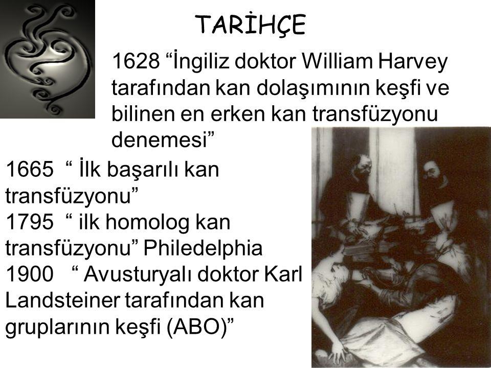 """TARİHÇE 1628 """"İngiliz doktor William Harvey tarafından kan dolaşımının keşfi ve bilinen en erken kan transfüzyonu denemesi"""" 1665 """" İlk başarılı kan tr"""