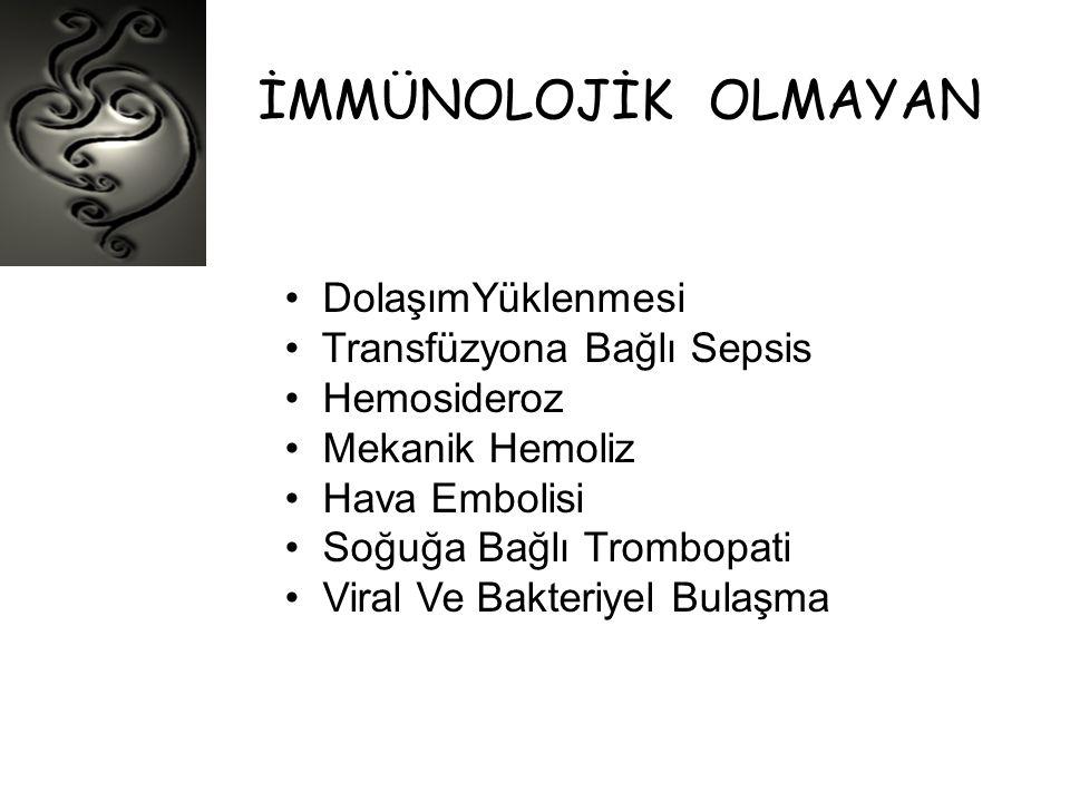 İMMÜNOLOJİK OLMAYAN • DolaşımYüklenmesi • Transfüzyona Bağlı Sepsis • Hemosideroz • Mekanik Hemoliz • Hava Embolisi • Soğuğa Bağlı Trombopati • Viral