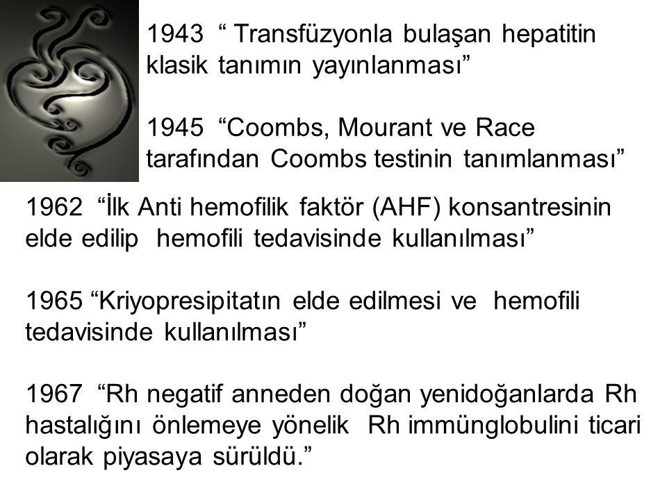 """1943 """" Transfüzyonla bulaşan hepatitin klasik tanımın yayınlanması"""" 1945 """"Coombs, Mourant ve Race tarafından Coombs testinin tanımlanması"""" 1962 """"İlk A"""