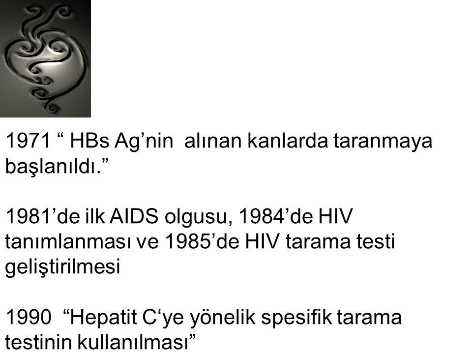 """1971 """" HBs Ag'nin alınan kanlarda taranmaya başlanıldı."""" 1981'de ilk AIDS olgusu, 1984'de HIV tanımlanması ve 1985'de HIV tarama testi geliştirilmesi"""