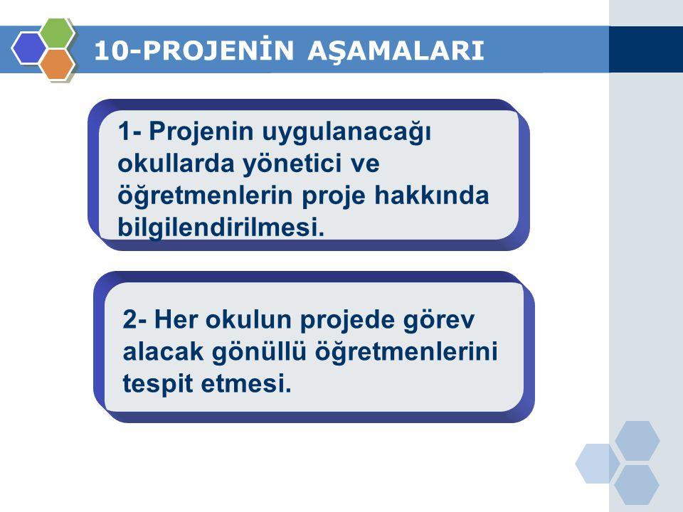 10-PROJENİN AŞAMALARI 1- Projenin uygulanacağı okullarda yönetici ve öğretmenlerin proje hakkında bilgilendirilmesi. 2- Her okulun projede görev alaca